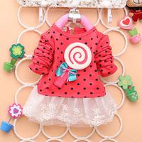Free & Dropshipping Newborn Kids Baby Girl Long Sleeve Dress Dots Bow Lollipop Lace Short Dress 0-4Y