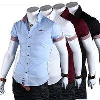 New 2014 Summer Men Shirts Fashion Urban leisure Short-sleeved Plaid Slim Men lapel Shirt Free Shipping Promotions