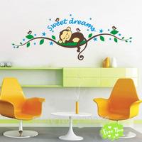 Free shopping Sweet dream Wall Stickers Monkey Sticker kids Baby children Room DIY Mural Decor Home Wall Paper Decal Art Sticker
