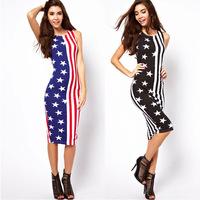 2014 new American flag stars and stripes printed sleeveless dress Slim dress Midi