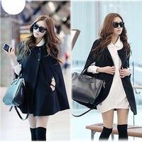 2014 Female Casual cute autumn coat Fashion preppy style Women Black Batwing Cape Wool Jacket girl Winter Warm Cloak Coat