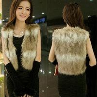 Plus size XXXL Women Coat 2014 New Winter Women Coat Faux Fur Vest  plush Lambs Wool Cardigan Vest Female Long Top Drop shipping