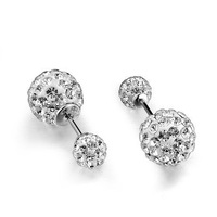 100% 925 Sterling Silver Jewelry  Full Flash Ball Earrings Sterling Silver Stud Earrings Christmas Gift  Free Shipping