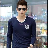 Famous brand new men's long-sleeved T-shirt printing men's collection body Korean wild cotton Lycra T shirt