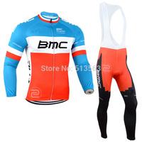 2014 Bicycle Clothing BMC Red/Green Winter Thermal Fleece Cycling clothing Winter Fleece Cycling Jersey+Bib Pants Cycling