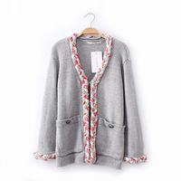 2014 fashion women's spring pactchwork casual warm single breasted cashmere knitted sweater cardigans free shipping