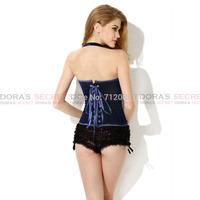 Sexy New Fashion Gothic Women Blue Velvet Halter Lace Up Corset Top Bustier Waist Training