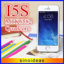 libre de dhl i5s 2gb teléfono ram rom 32gb logotipo original 4 pulgadas 5s teléfono original androide 1280x720 4.4 mtk6582 núcleo cuádruple 13mp 3g wcdma(China (Mainland))