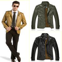 2014 New Arrival Men's Autumn Winter Leather Jacket Thick Warm Coat Outdoors Fashion Style MWP070