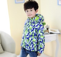 Children Camouflage Printed Down Jacket Zip Hooded Children Girl& Boy Outdoor Coat 3 Colors  free shipping