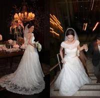 Custom Made Vestidos De Noivas Renda 2014 New Modest A Line With Short Sleeves Lace Wanda Borges Wedding Dresses Casamento Gown