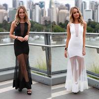 Hot Sale Two Color Option Top Elegance Fashion Women Long Dresses Sexy Party Casual Clothes  Transparent S M L Size