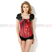 Sexy New Fashion Gothic Women Red Sequin Dot Floral Lace Up Princess Short Sleeve Corset Top Bustier Waist Training