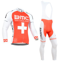 2014 BMC Red Cross Winter Thermal Fleece Cycling Clothing Winter Fleece Cycling Jersey And Bib Pants Bicycle Clothing Cycling