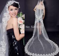The bride wedding veil 3 m lace bridal veils long section of wedding accessories veu de noiva longo ivory and white