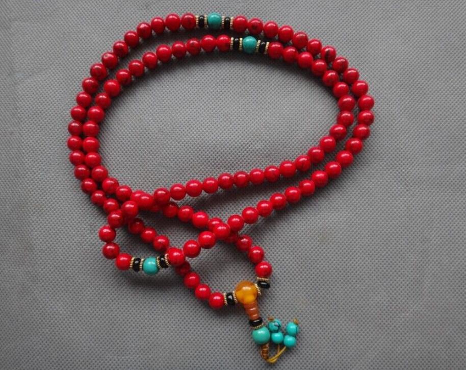 """36 """" tibete tibetano Red coral buda preocupação oração talão pulseira mala Sa-192(China (Mainland))"""