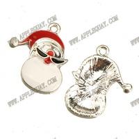 10pcs New DIY Fashion Jewelry Findings Fitting Metal  Plated Epoxy Enamel Christmas Santa Claus Jr Charms  21*17mm