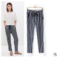 Fall 2014 new European and American ladies vertical stripes loose black pants lace waist straight jeans pants joker   kz-001