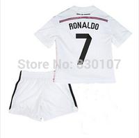 14 15 Real Madrid Soccer Jersey 7# Cristiano Ronaldo Kids Home White Football Jerseys + Short Kits Children Soccer Shirt Uniform