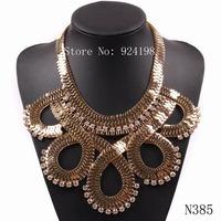 2014 new design cheap fashion gold plated chain rhinestone big chunky choker necklace collar statement USA jewelry