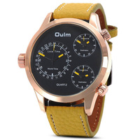 2014 New Oulm Luxury Sport Stylish Quartz 3 Dials Clock Men Gold Case Round Dial Color  Leather Band Strap Wrist Watches