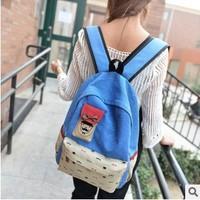 Printing little bag Ear Shoulder Bag Backpack Schoolbag Men Canvas 2014 New Women Cartoon Cat Backpacks Travel Hiking Bags