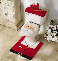 Free Shipping 1PCS Christmas Bath Set Santa Toilet Seat Cover and Rug Set