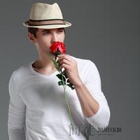 [J.C] Spring Summer men's solid White Denim blue Black Red Army green Gray Long sleeve cotton t-shirt Lycra shirt Slim Top Tee
