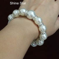 Fashion Chunky Faux Pearl Crystal Loop Mix Bead Chain Elastic Statement bangle bracelet Women Jewelry Item,C25