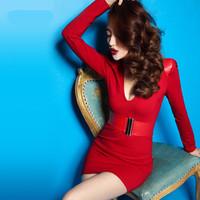 Free Shipping 2014 autumn new PU leather patchwork sexy nightclub long sleeve women fashon dress free belt