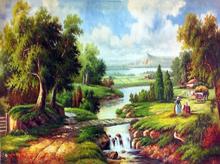 Pintado Pintura Europa da lona mão pintura de paisagem clássica para sala de estar Wall Art Pendure Pictures Home Decor Craft(China (Mainland))