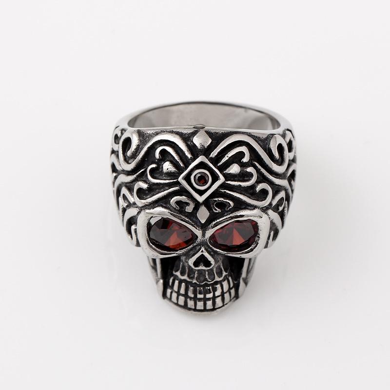 Free shipping 316L titanium steel casting skull ruby rings factory custom casting(China (Mainland))
