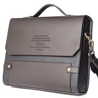Designer Brand 2014 New Men's Leather Shoulder Bag, men messenger bags,PU leather briefcase men,POLO laptop bag,brown handbag