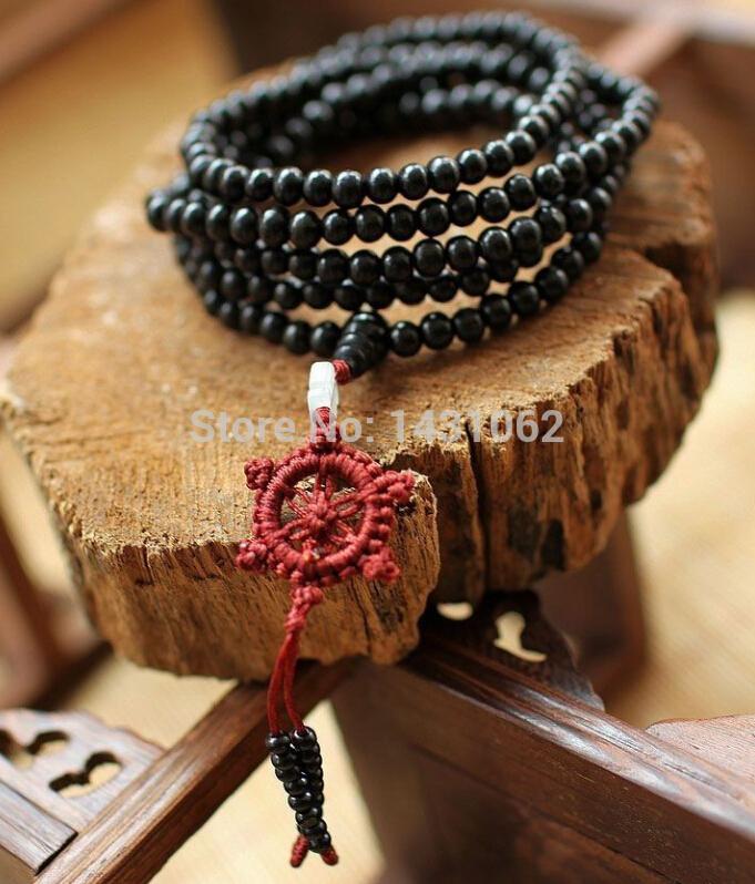 6 milímetros * 216pcs ébano preto contas de oração budistas pulseira meditação mala / colar Sa -199(China (Mainland))