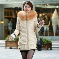 Women's Thicken Large Faux Fur Collar Down Cotton Coat,Winter Snow Warm Cotton Coat Outwear For Women,6 Colors,Size L-3XL,J8002
