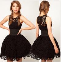 Free Shipping 2015 new fashion elegant thin black lace tutu dress hot sell wholesale in stock