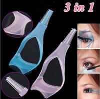 3 in 1 Makeup Eyelash Curler Mascara Guard Applicator Comb Brush Cosmetic Tool