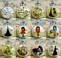 New Trumpet enamel  picture series pocket watch fashion  sweater chain  table  retro jewelry wholesale