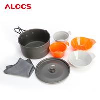 2-3People Camping Cooking Set Hard Alumina Pan Picnic Bowl Cup Pot Cover Safety Healthy 7PCS FDA 473g CW-S02