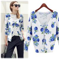 free shipping autuman new arrived 2014  women's knitted flower pattern sweater Fashion jackets women women coat