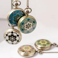New [large] Epoxy diamond petal pocket watch  retro sweater chain jewelry trade wholesale