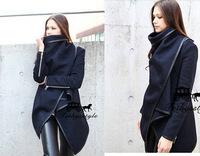 2014 New Autumn&Winter Women's Trench Woolen Coat Slim leather Trim Personalized Overcoat Windbreaker Desigual Cardigans