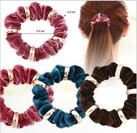 Fashion Elegant 20PCS Velvet Hair Scrunchies Hair Ties with Ring Spacer Charms Elastic Hair Bands Ponytail Holder