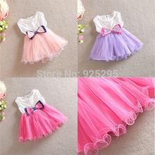 LOWEST PRICEKids Toddler Girls Princess Bow Dress Necklace One Piece Party Tutu Dress 0-3Y(China (Mainland))