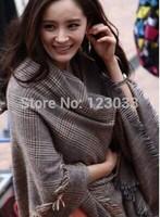 2014 Spring explosion models big plaid scarf fringed shawl scarf eldest flash Cotton Flax