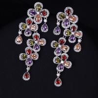 Mutli and Clear Zirconia Flower New Fashion Drop Earrings Crystal Zirconia Brand Earrings for Women Wholesale