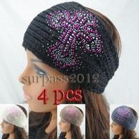Knitted Cross Headband DECORATED Rhinestone handmade  Crochet Hairband