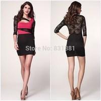 2014 New Sexy Woman Bandage Dress Clubwear Dress Fashion Lace Shoulder Woman Summer Dress Free Shipping