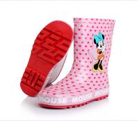 New Hot Minnie Rain Boots Top Quality Children Boots Waterproof Autumn Winter Cartoon Dot Girls Minnie Shoes Rainshoes