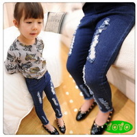 Hot sale 2014 girls distressed jeans autumn kids girls causal blue skinny jeans pants 3-8 years Free shipping!